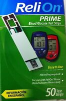 Relion Prime Blood Glucose Test Strips, 50-count (exp : 2017-07)