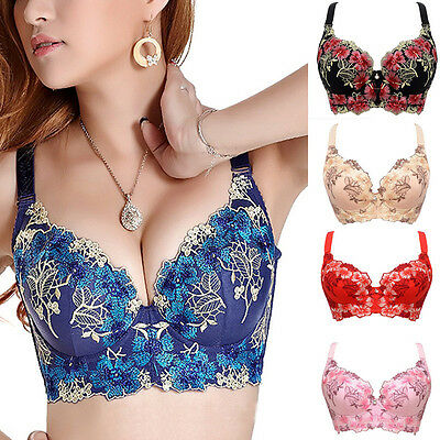 Womens Embroidered Push Plunge Push Lift Up Lace Underwired Bra 34 36 38 C Cup