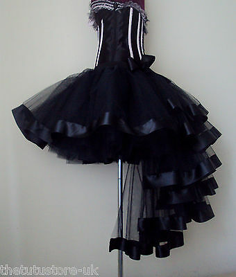 Burlesque Tutu Skirt size XS S M L XL Sexy Bustle Black Satin Ribbon Halloween