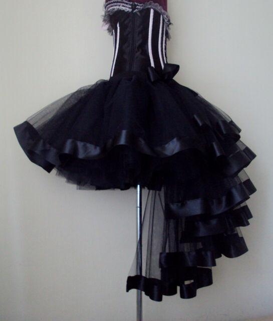 Burlesque Tutu Skirt size XS S M L XL Sexy Bustle Black Satin Ribbon Halloween