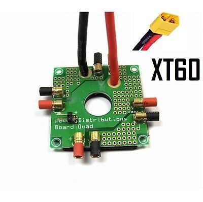 Quadrokopter Anschlußplatine 3,5mm + XT60 für 4x ESC  Power distribution board