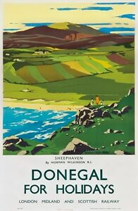 TX271 Vintage Sheephaven Donegal Ireland LMS Railway Travel Poster A2/A3/A4