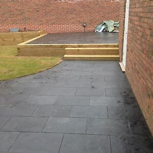 Black slate paving patio slabs garden 27m2 600x400mm for Garden decking and slabs