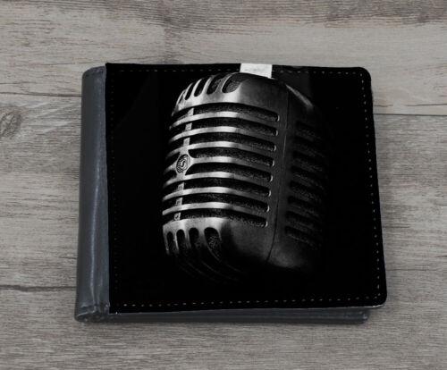 Vintage Microphone Picture Mens Faux Leather Wallet Mic Singer DJ Rapper D777