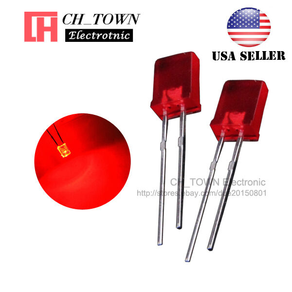 Chanzon 100 pcs 2x5x7 mm Red LED Diode Lights Lighting Bulb Lamps Electronics Components Light Emitting Diodes Square Rectangle Colored Lens Diffused DC 2V 20mA