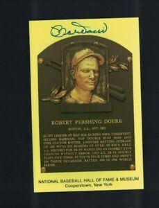 Bobby Doerr Boston Red Sox Signed Gold HOF Plaque Postcard W/Our COA G