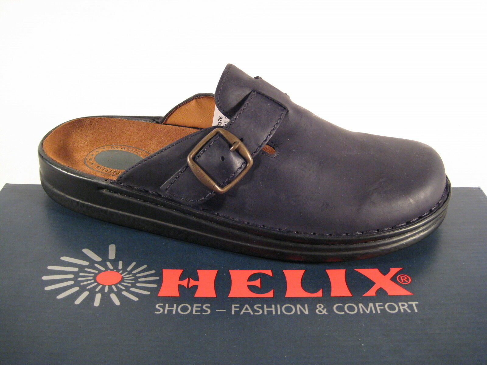 Helix CLOGS MULE MULES CUSHION BLACK REAL LEATHER AIR CUSHION MULES LEATHER FOOTBED 4d1314