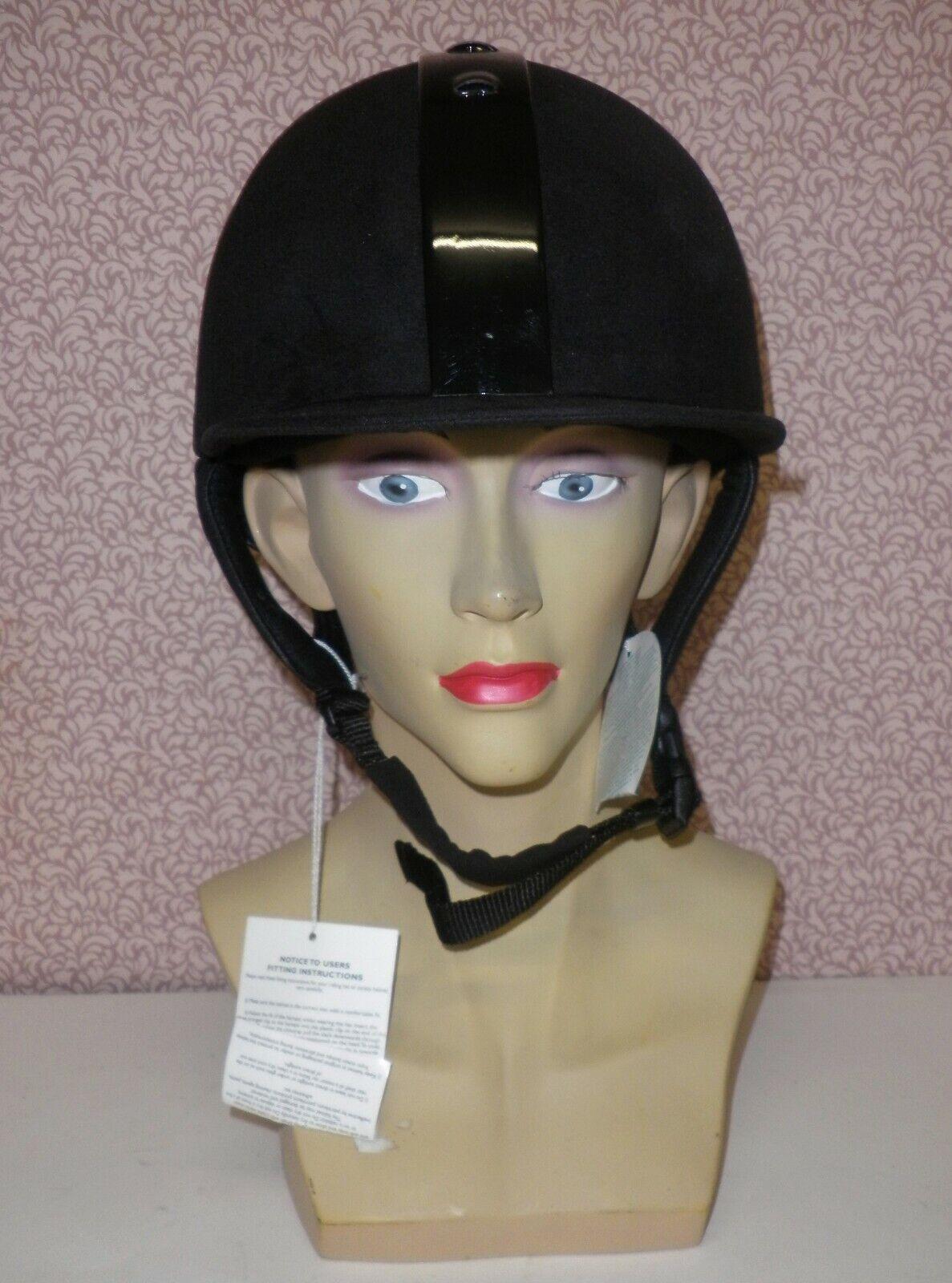 Picco fisso Nero Equitazione Cappello da equitazione taglia 56cm con striscia VENTILATO