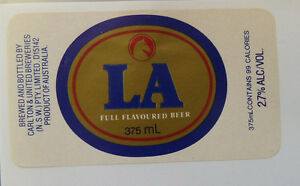VINTAGE-AUSTRALIAN-BEER-LABEL-CARLTON-amp-UNITED-BREWERY-LA-BEER-375-ML