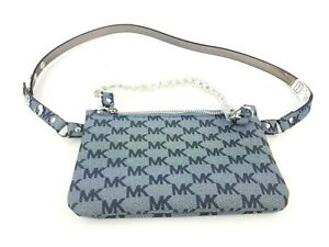 Michael-Kors-Size-M-Signature-Leather-Fanny-Pack-Belt-Bag-Button-Gray-Silver-NWT