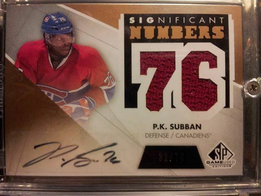 2012 13 SPGU SIGNIFICANT NUMBERS PK SUBBAN AUTOGRAPH & JERSEY /76 MONTREAL AUTO