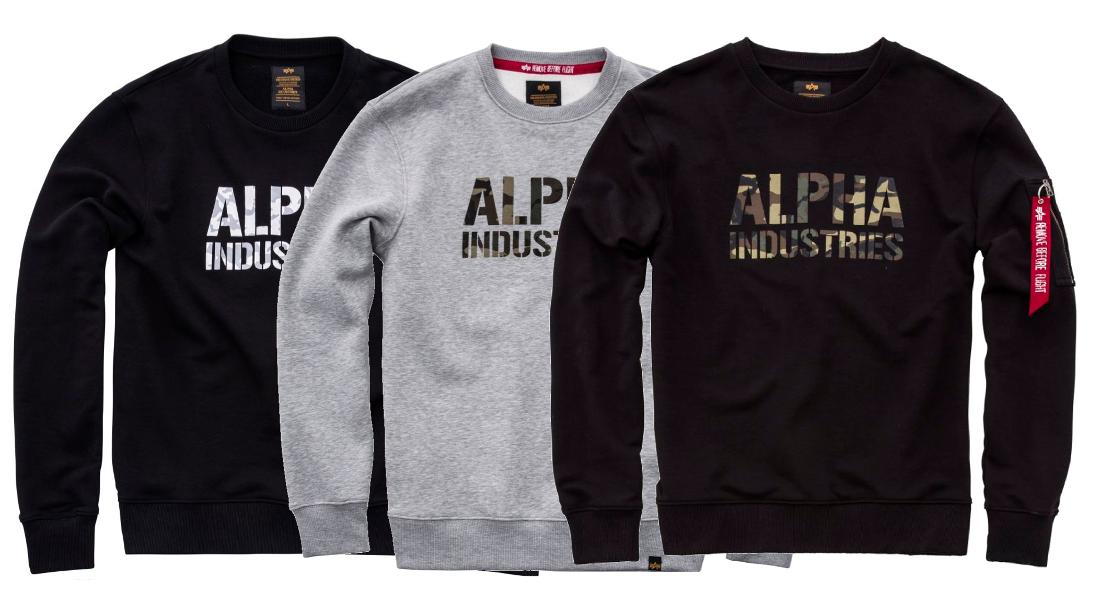 Alpha Industries Camo Print Sweat schwarz grau tarn woodland 176301 Herren Neu