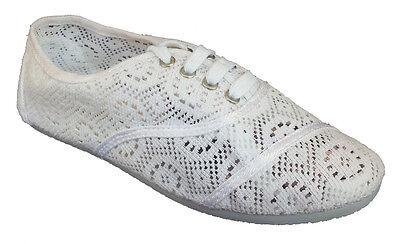 d81fc76e8 Womens Classic Crochet Canvas White Lace Up Flat Espadrilles Loafers Cute  Shoes