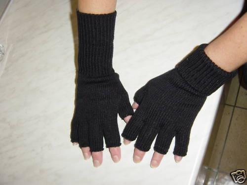 Mädchen//Damenhandschuhe ohne Finger uni schwarz mit Umschlag