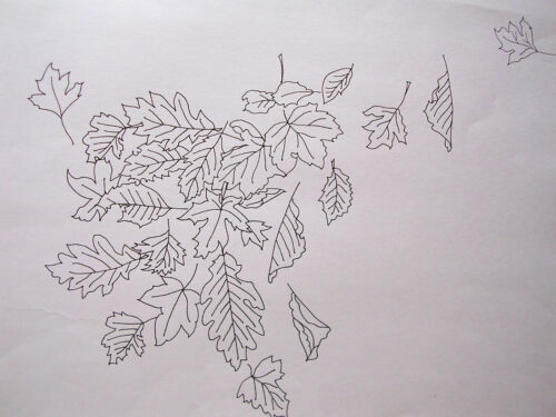 Nappe imprimé à broder feuilles en automne en coton dentelle blanche bord csoo74