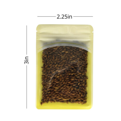 2.25x3in Front Clear Back Yellow Glossy Flat Mylar Zip Lock Bag w// Machine