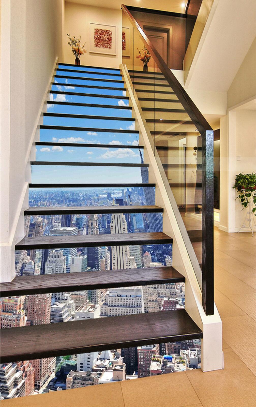 3d New York 011 Stair Risers Décoration Papier Peint Vinyle Autocollant Papier Peint De
