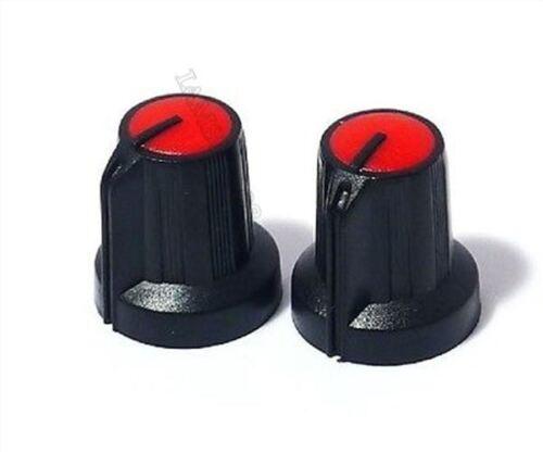 5 Stück Schwarzer Knopf Mit Rotem Zeiger Für Potentiometer 15Mm to