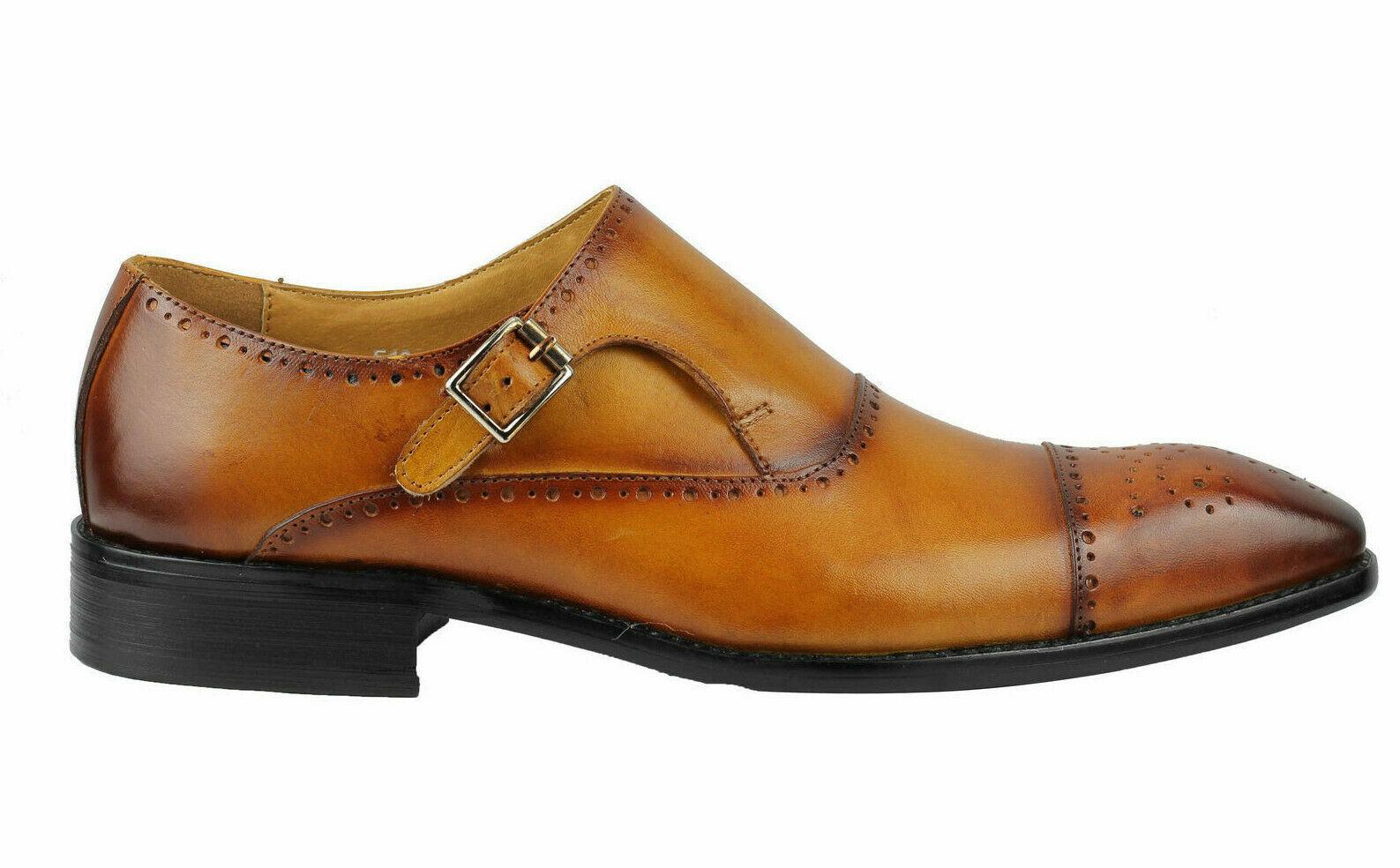 Hecho a mano para hombres Cuero Genuino tan sombreada punta del ala Oxford Zapatos Monje Brogue Hebilla