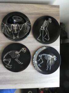 Set Of 4 New Pottery Barn Skeleton Appetizer Plates