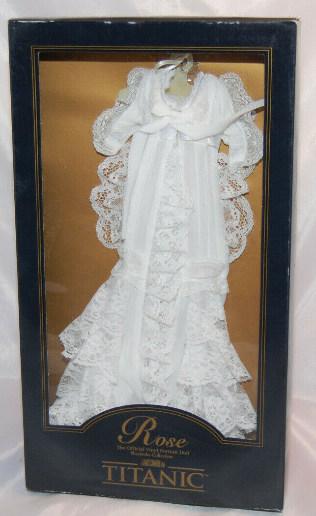 Franklin Mint blancoo Bata conjunto para el Titanic Vinilo Muñeca rosado