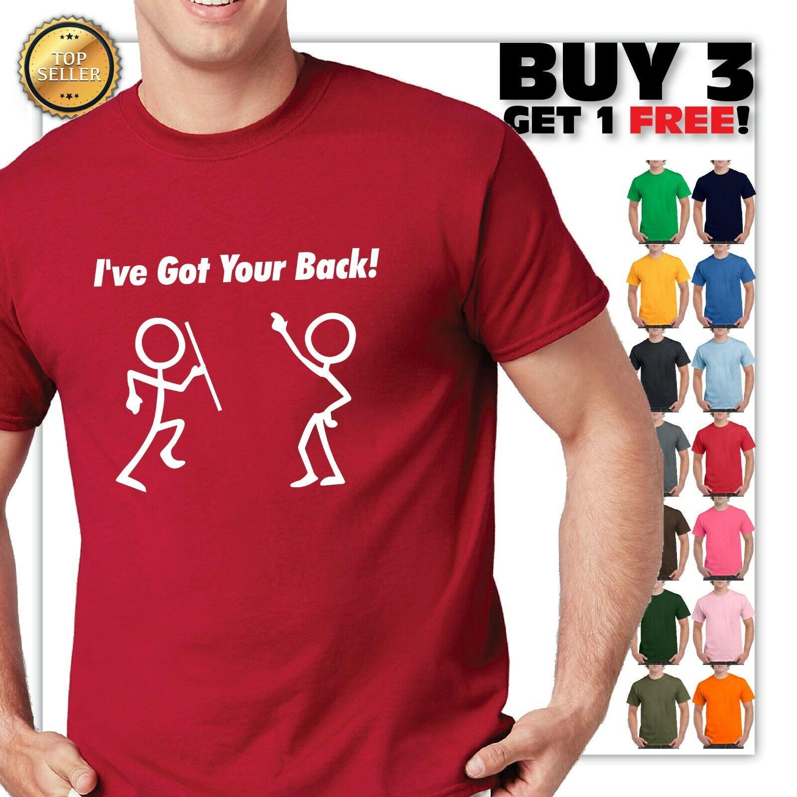 Funny Novelty T-Shirt Mens tee TShirt Ive Got Your Back Stickmen