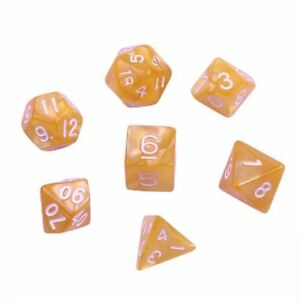 Yellow-Gold-Marble-Set-of-7-Plastic-Polyhedral-Acrylic-Dice-w-Velvet-Bag