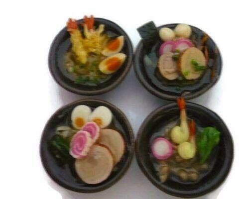 3 Set of 4 Bowl of  Ramen Noodles Dollhouse Miniatures Japan Food Supply Deco