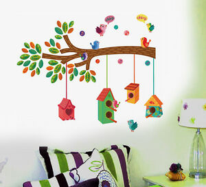57145 | Wall Stickers Nursery Colourful Bird House on a Branch