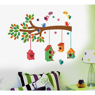 Wall Stickers Wall Decals Nursery Colourful Bird House on a Branch