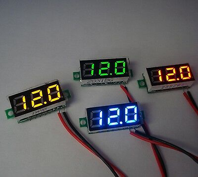 """Two Wire 0.28"""" 3-30V LED Mini Digital Voltage Meter 2 Cables 0.28inch 12V"""