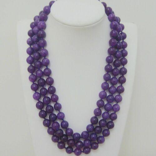 """Nouveau 8//10//12mm russe améthyste perles rondes gemme Collier 25-36-50/"""" AAA"""