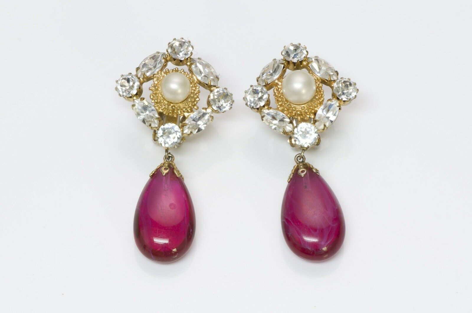Arnold Scaasi Couture Crystal Pink Glass Earrings - image 1