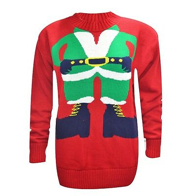 WOMENS MENS HEADLESS ELF SWEATER LONG SLEEVES KNITTED CHRISTMAS JUMPER TOP 8-20