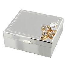Sophia Gold Butterfly Design Silver Plated Jewellery Trinket Box