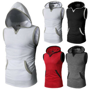 Fashion-Men-039-s-Slim-Fit-Sleeveless-T-Shirt-Hoodie-Hooded-Muscle-Tops-Casual-Shirt