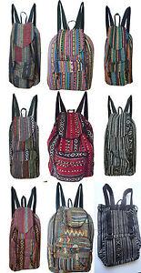 Rucksack-Damenrucksack-leicht-Schule-Vintage-Hippie-Retro-Boho-Baumwolle-gewebt