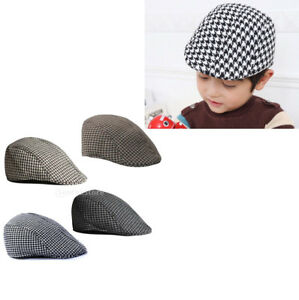 cbe2ad8a03b Fashion Kids Cool Beret Cap Boys Girls Houndstooth Newsboy Hat Flap ...