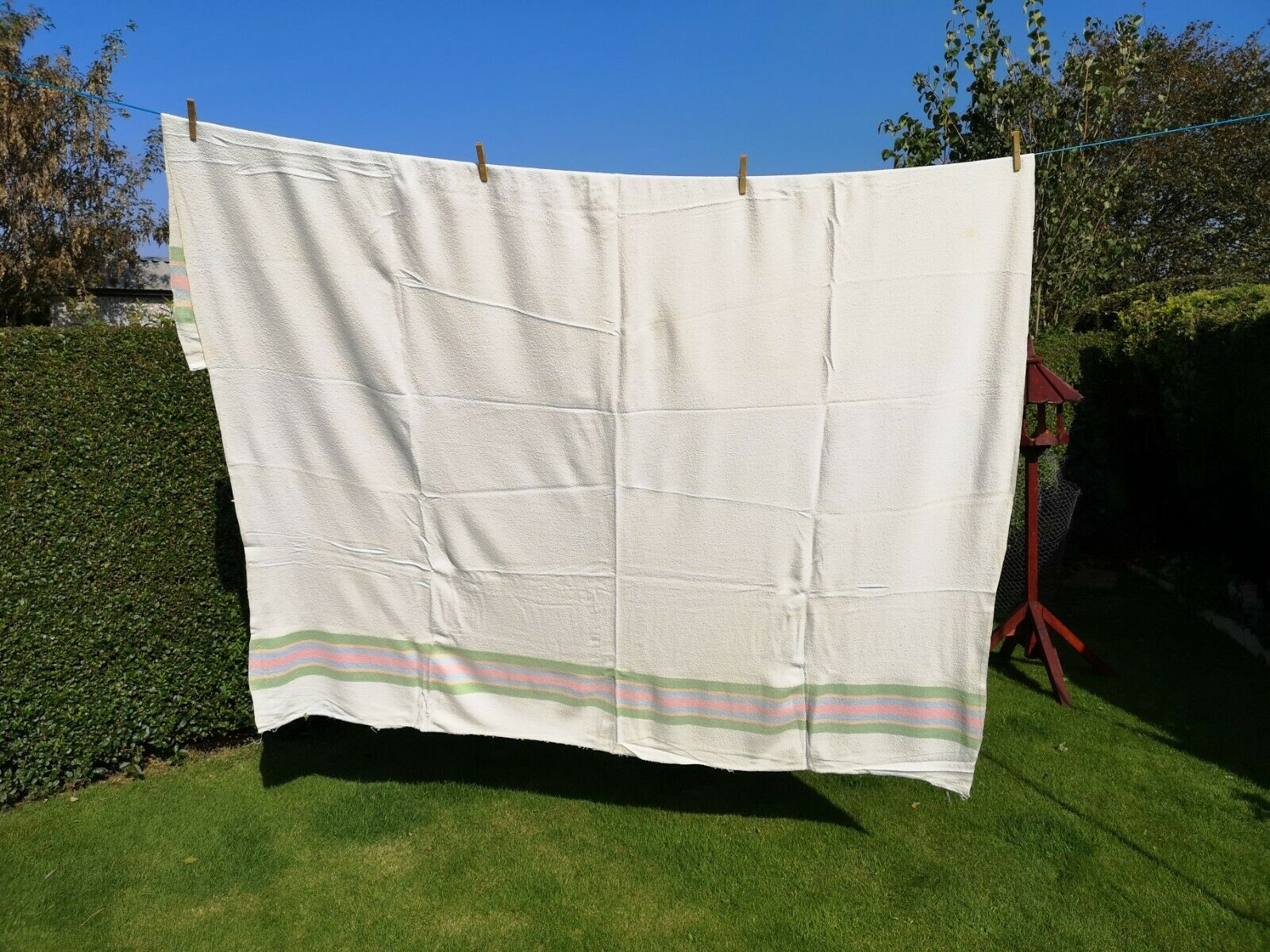 1960s reversible striped vintage blanket made in England by Four Turret