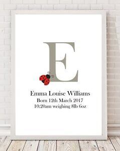 Initial-Name-Ladybird-Birth-Details-Baby-Christening-Gift-A4-Poster-Print-PO87
