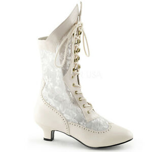 62e9a2f1c56 Details about Ivory Off White Vintage Steampunk Shabby Chic Wedding Bridal  Womans Shoes Boots