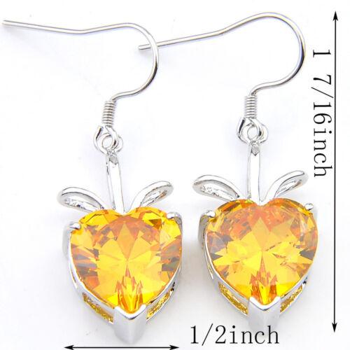 TRENDY Jewelry Natural Shiny GOLDEN Citrine Pierres Précieuses Argent Dangle Crochet Boucles D/'oreilles