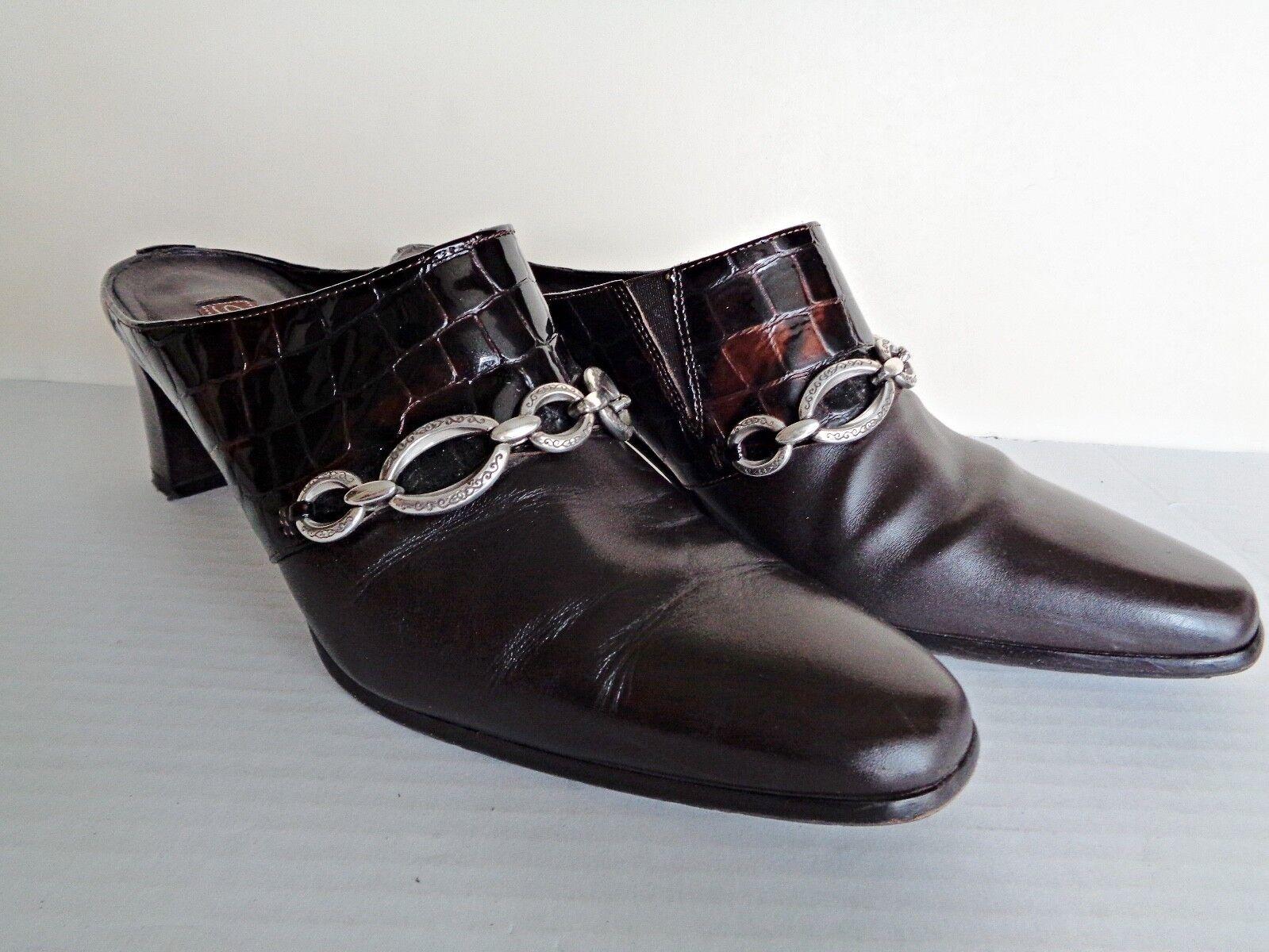 Brighton TWIGGY Chocolate Brown Croc Leather Mules Heels shoes 8N - EUC