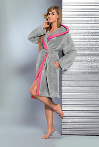 Women Hooded Knee Length Dressing Gown With Belt GINE