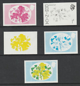 Dominica 3294 - 1975 TULIP 1c set of PROGRESSIVE PROOFS u/m