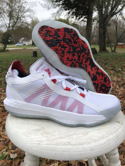 New Men Adidas Dame Lillard 6 Time White Red Basketball Shoes EH2069 Size 12 Psa