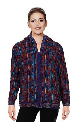 Geccu 3D Multi Colour Merino Wool Zip Hood Sweater Jacket Knitwear Coogi Look