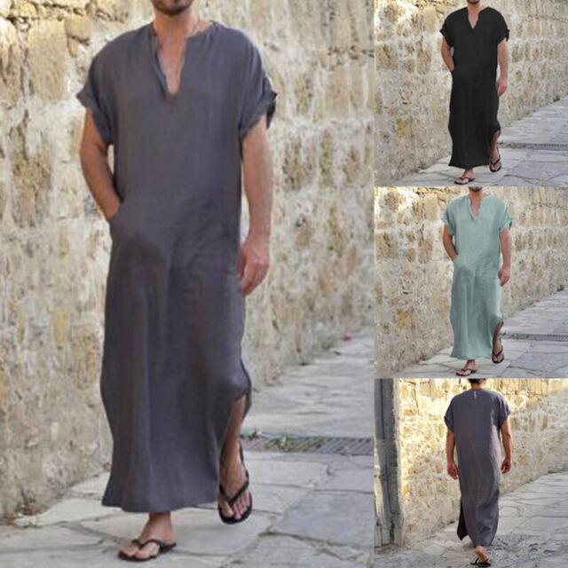 Mens Middle East Muslim Long Robes Thobe Loose Kaftan Casual Islamic Maxi Dress