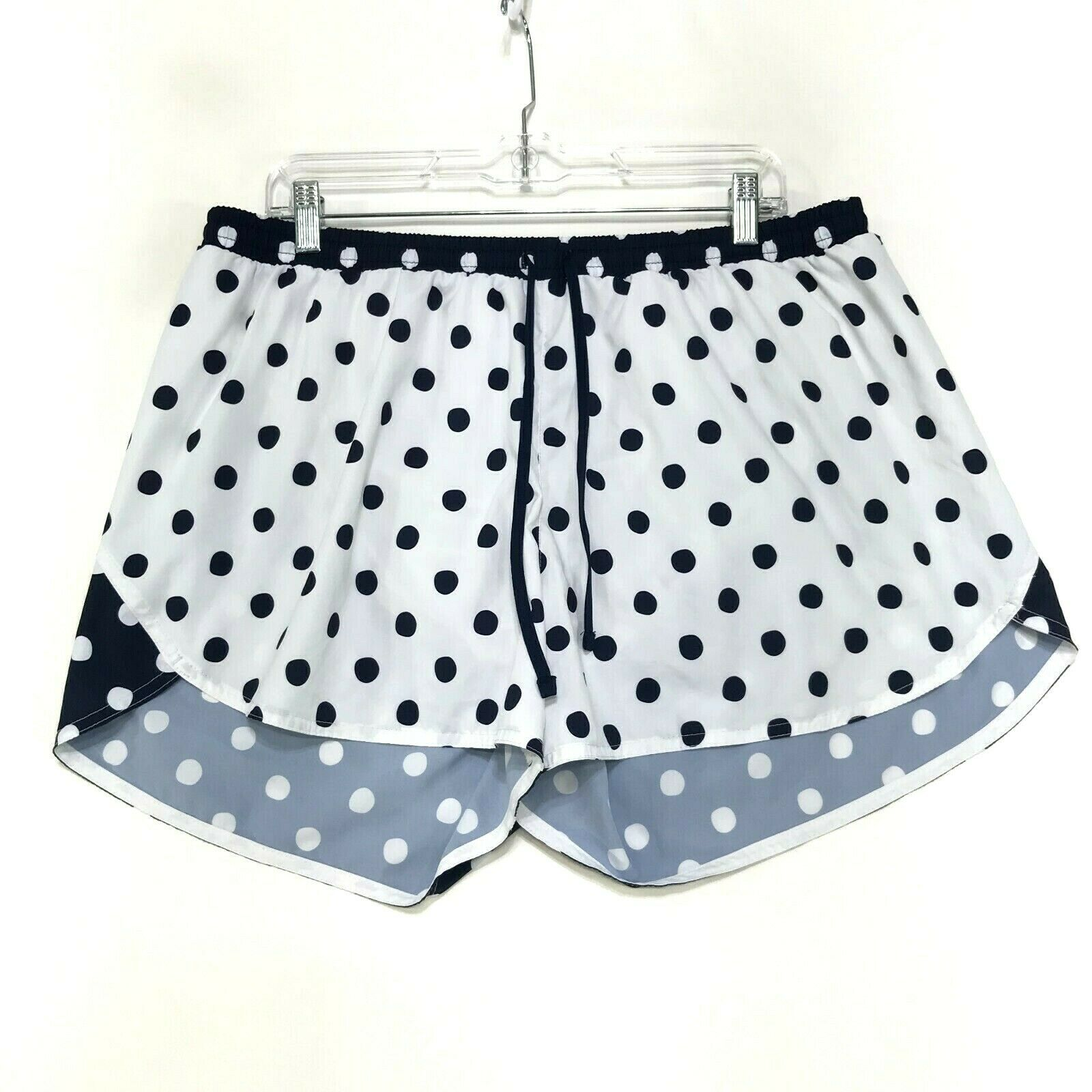 Old Navy Active Athletic Running Shorts Womens XL White Blue Polka Dot Tempo