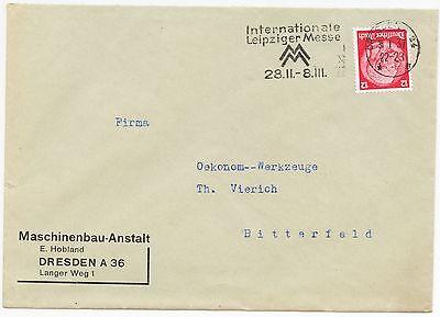 "Hobland "" Internationale Le Briefumschlag 1937 Clever Dresden Maschinenbau-anstalt E"